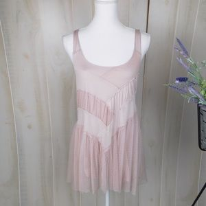 Free People Light Pink Purple Trapeze Netted Top